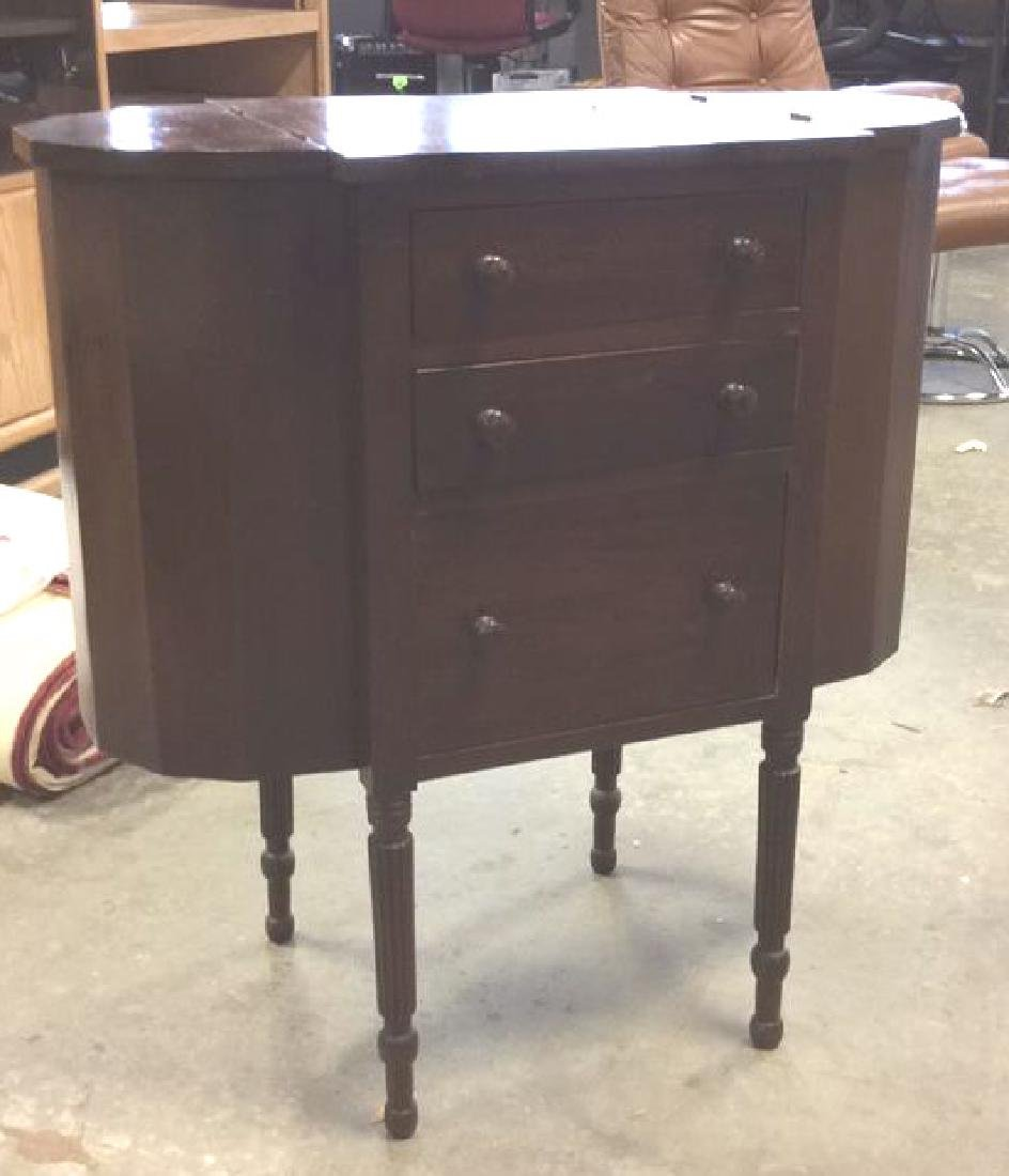 Vintage Mahogany 3 Drawer Sewing Table Labeled