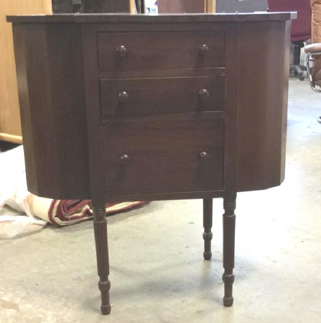 Vintage Mahogany 3 Drawer Sewing Table Labeled - 2