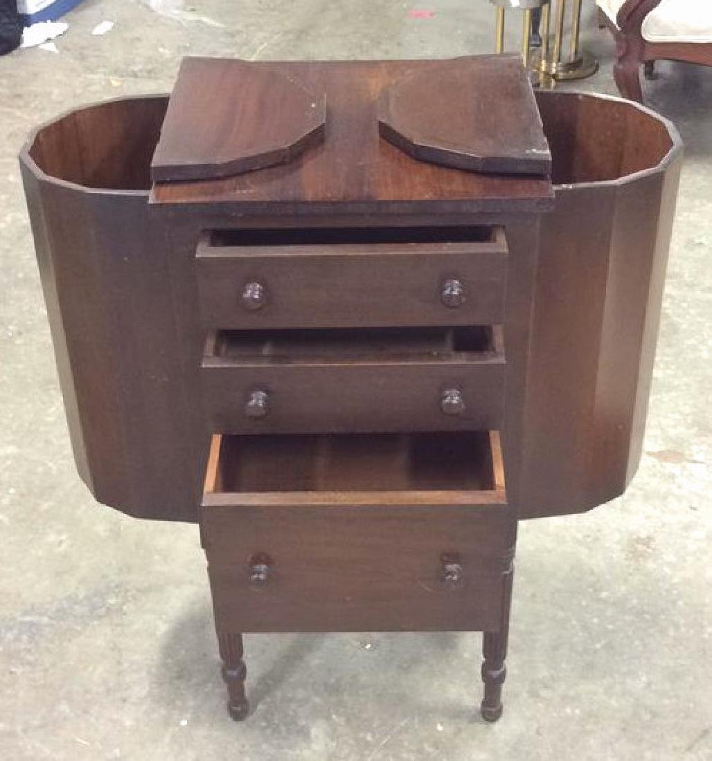 Vintage Mahogany 3 Drawer Sewing Table Labeled - 8