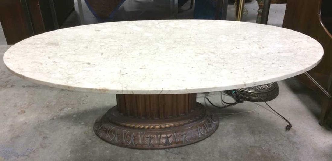 Marble Topped Columnar Oval Low Table