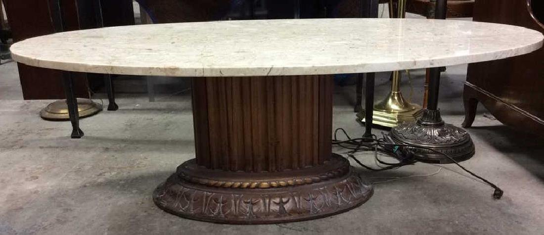 Marble Topped Columnar Oval Low Table - 2