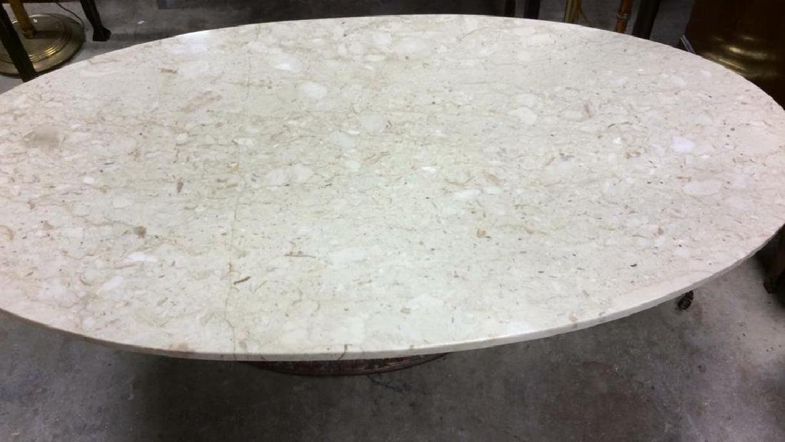 Marble Topped Columnar Oval Low Table - 3