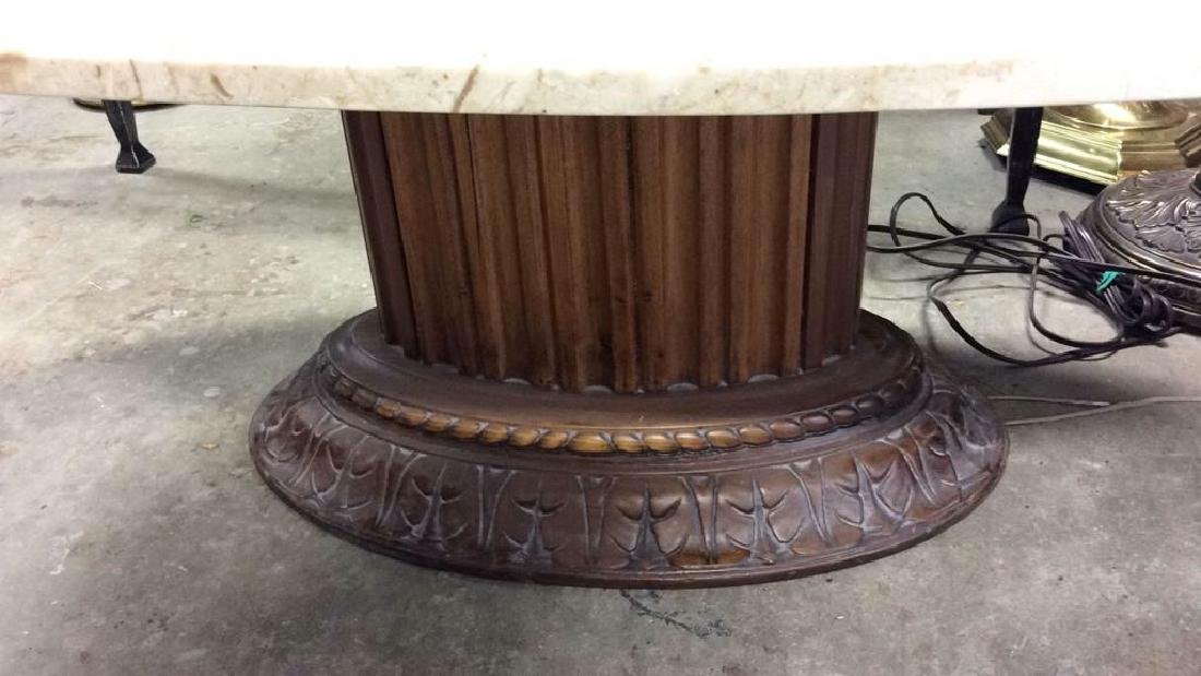 Marble Topped Columnar Oval Low Table - 7