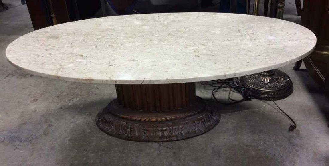 Marble Topped Columnar Oval Low Table - 8