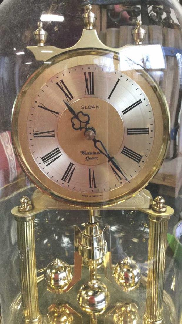 Glass Domed Brass Clock, Germany - 3
