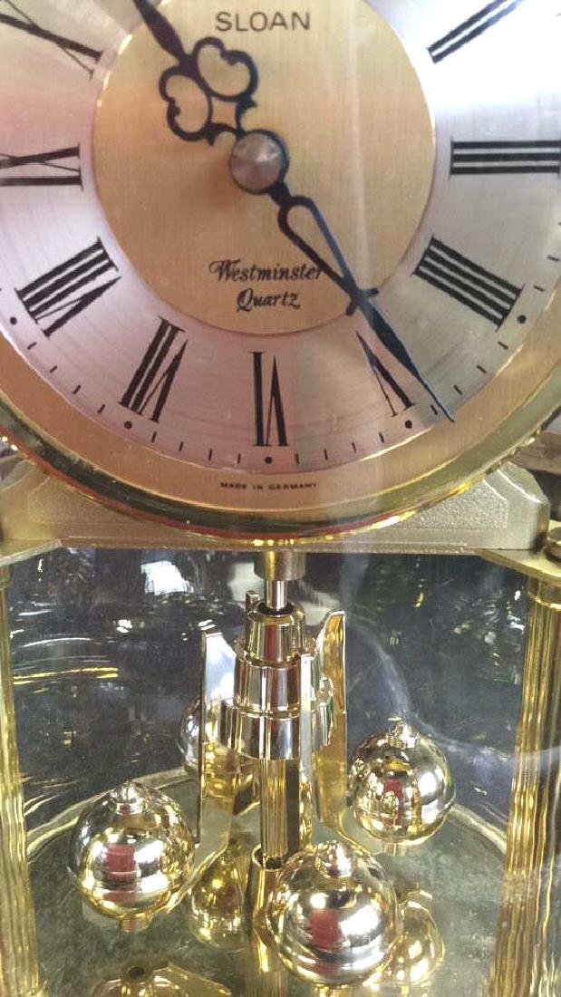 Glass Domed Brass Clock, Germany - 4