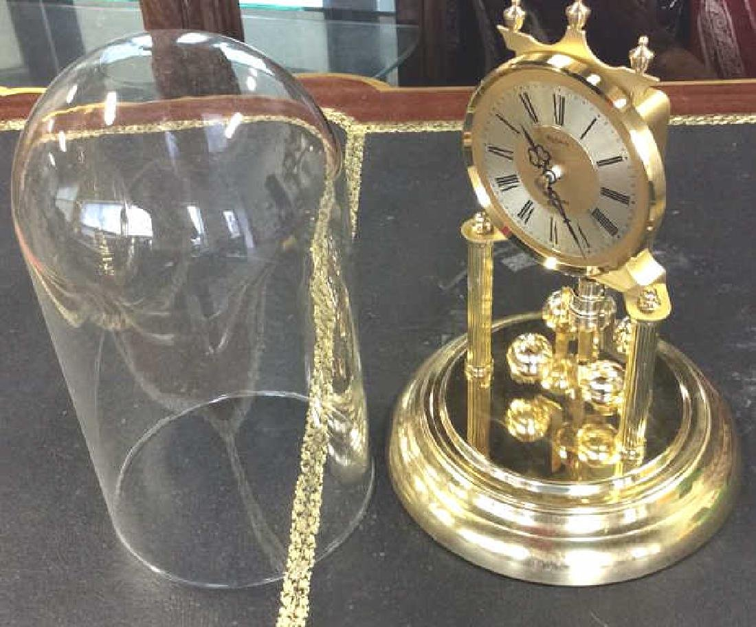 Glass Domed Brass Clock, Germany - 6