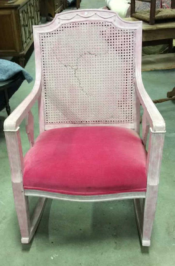 Pink Wood Caned and Velvet Rocking Chair