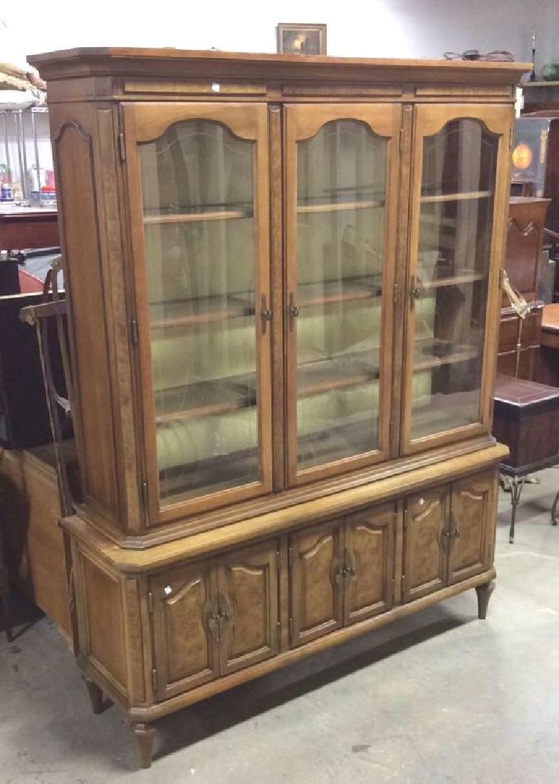 Light Wood Glass Burled Wood China Cabinet