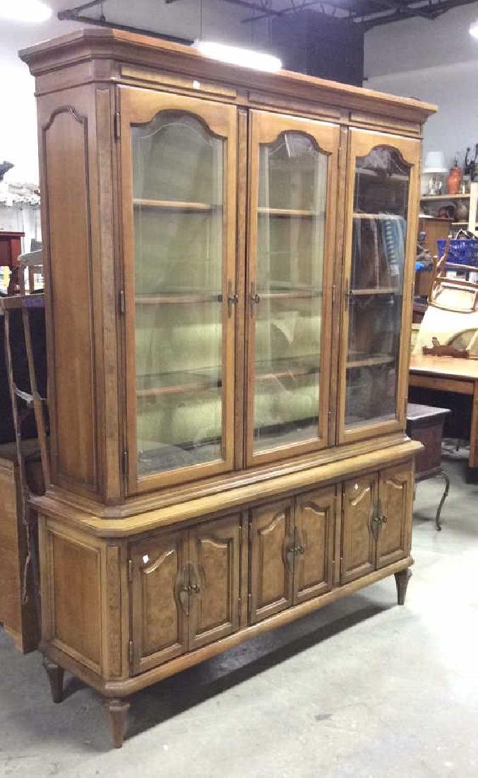 Light Wood Glass Burled Wood China Cabinet - 2