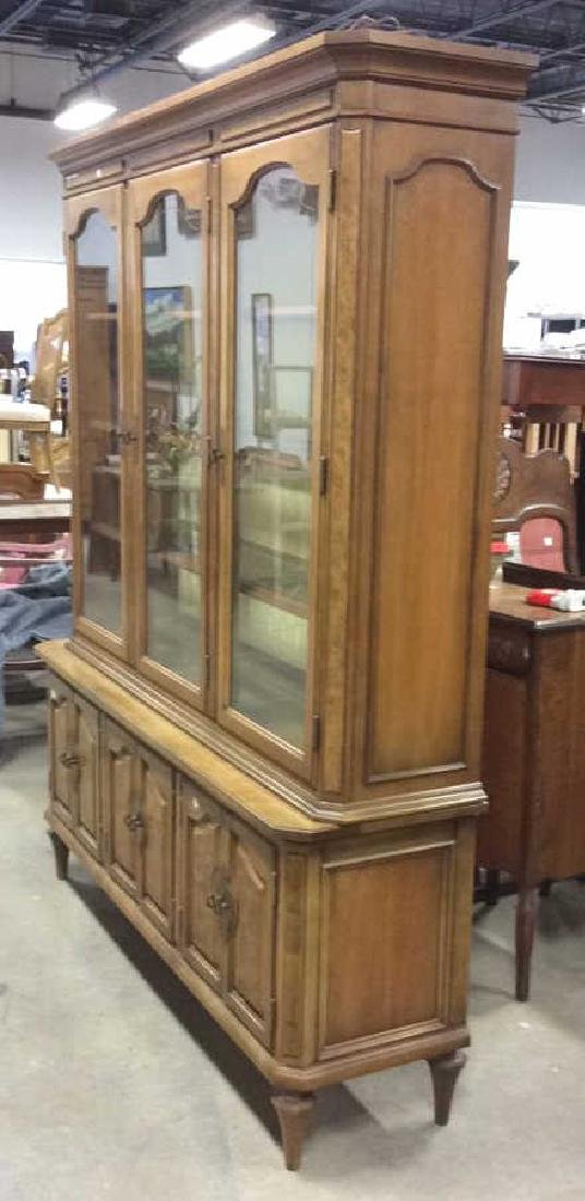 Light Wood Glass Burled Wood China Cabinet - 8