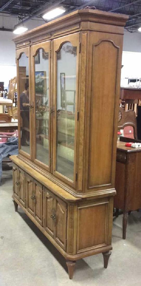 Light Wood Glass Burled Wood China Cabinet - 9