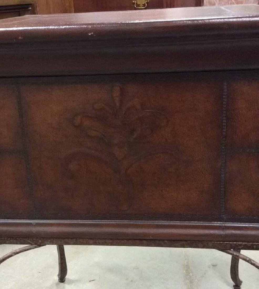 Tooled Leather Chest on Stand Side Table - 3