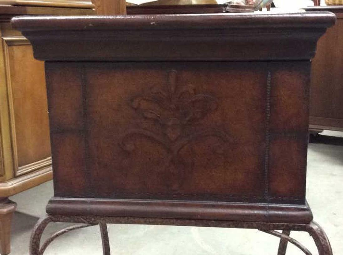 Tooled Leather Chest on Stand Side Table - 4