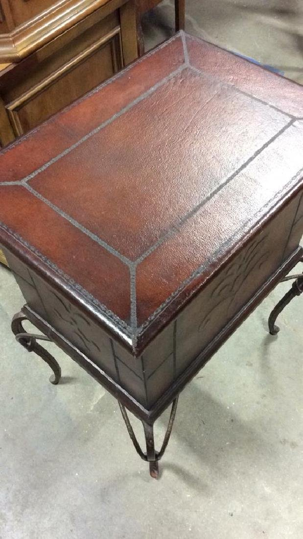 Tooled Leather Chest on Stand Side Table - 6