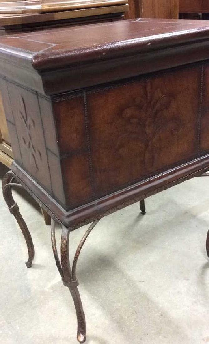 Tooled Leather Chest on Stand Side Table - 7