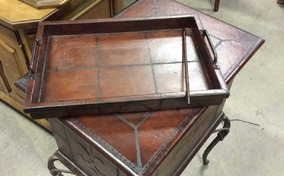 Tooled Leather Chest on Stand Side Table - 8