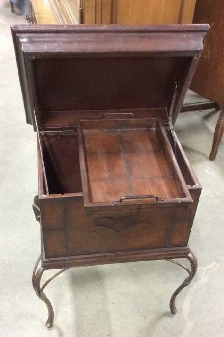 Tooled Leather Chest on Stand Side Table - 9