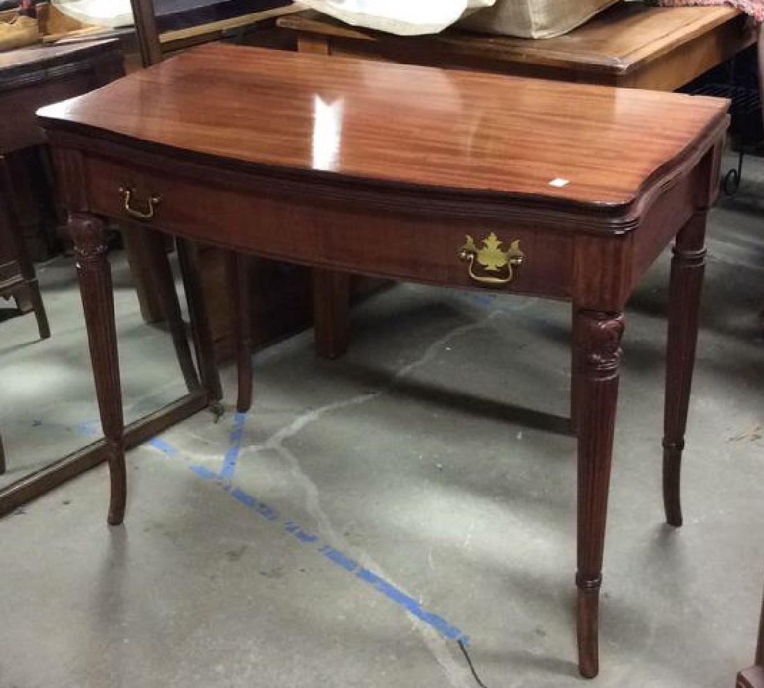 Flip Top Mahogany Game Table - 4