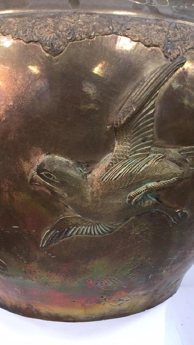 Brass Toned Metal Oriental Bird Design Planter - 2