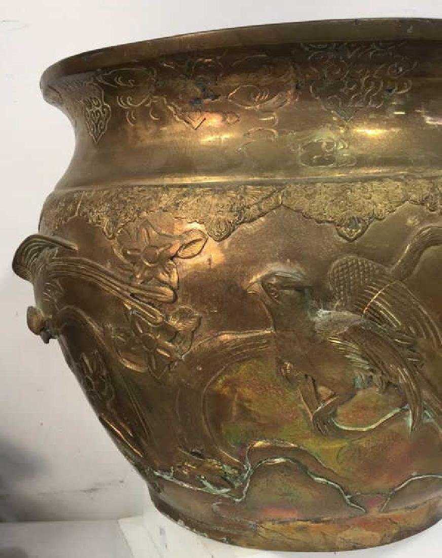 Brass Toned Metal Oriental Bird Design Planter - 4