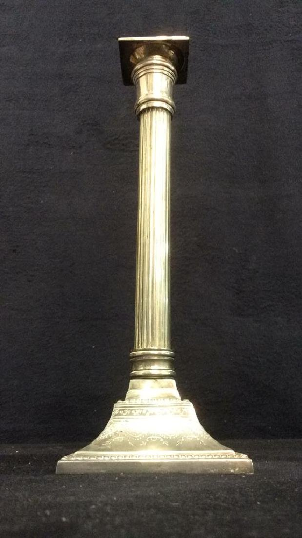 Pair Silver Plated Reeded Etch Pillar Candlesticks - 3