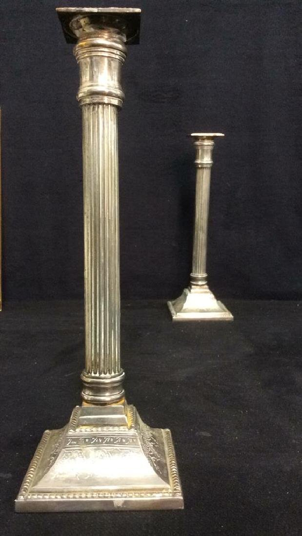 Pair Silver Plated Reeded Etch Pillar Candlesticks - 7