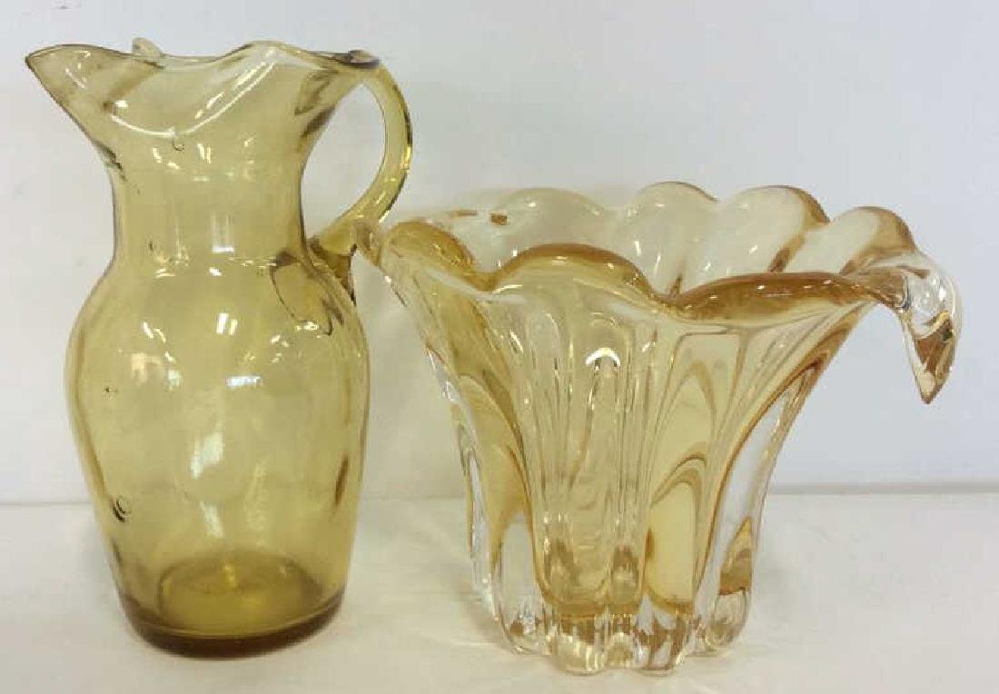 Pair Yellow Toned Glass Tabletop Accessories