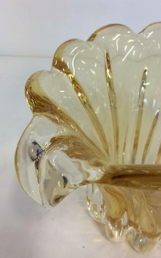 Pair Yellow Toned Glass Tabletop Accessories - 3