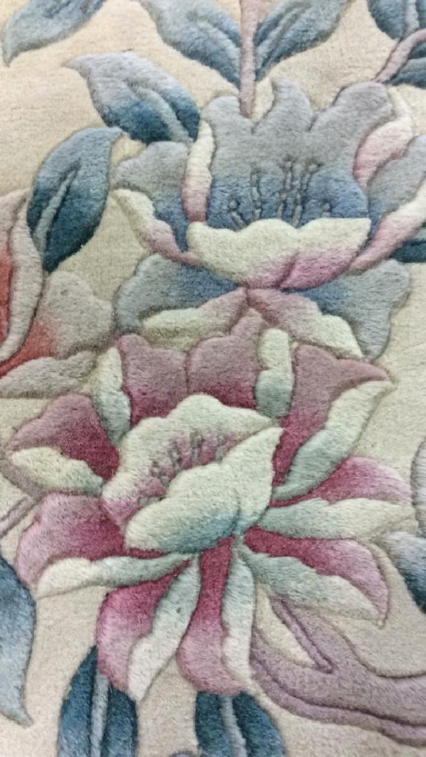 Chinese Art Deco Wool Pile Fringed Rug - 3