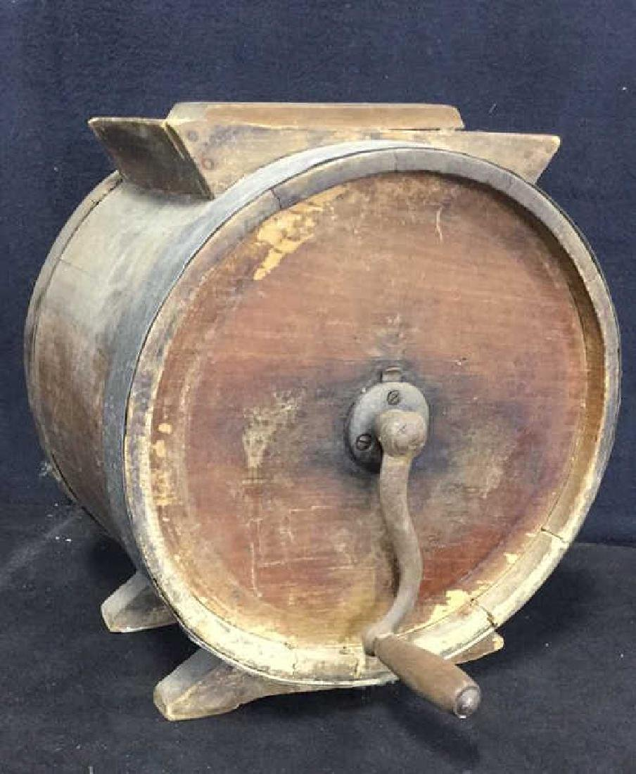 Antique Wood Metal Iron Butter Churn - 2