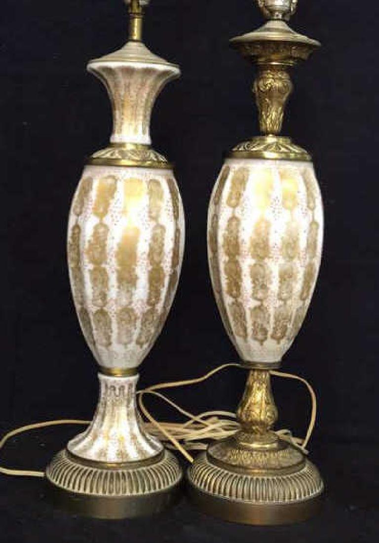 Pair Vintage Painted Porcelain Lamps