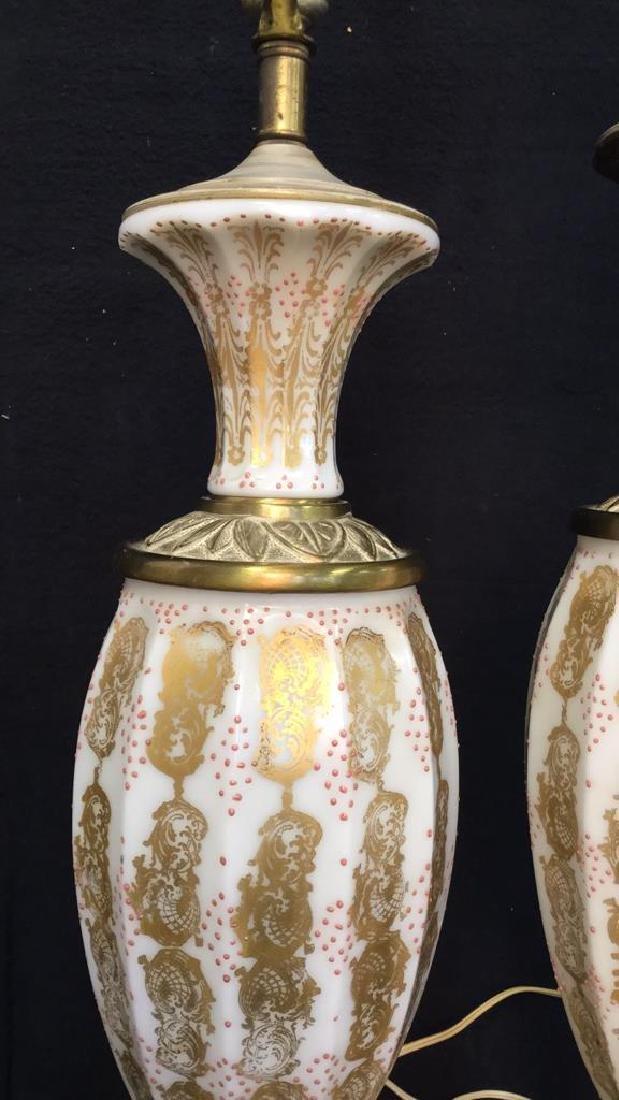 Pair Vintage Painted Porcelain Lamps - 3