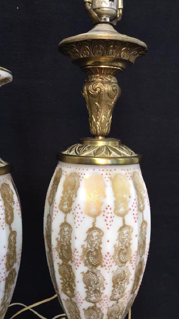 Pair Vintage Painted Porcelain Lamps - 4