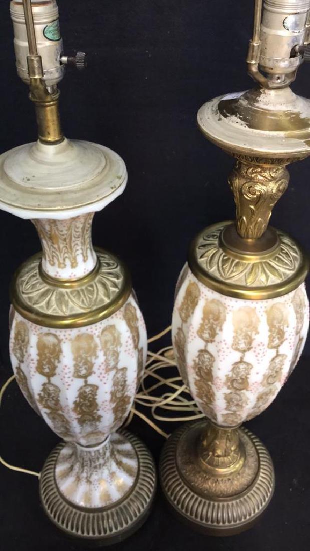 Pair Vintage Painted Porcelain Lamps - 5