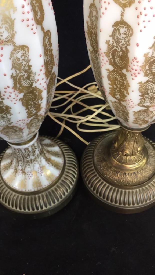 Pair Vintage Painted Porcelain Lamps - 6