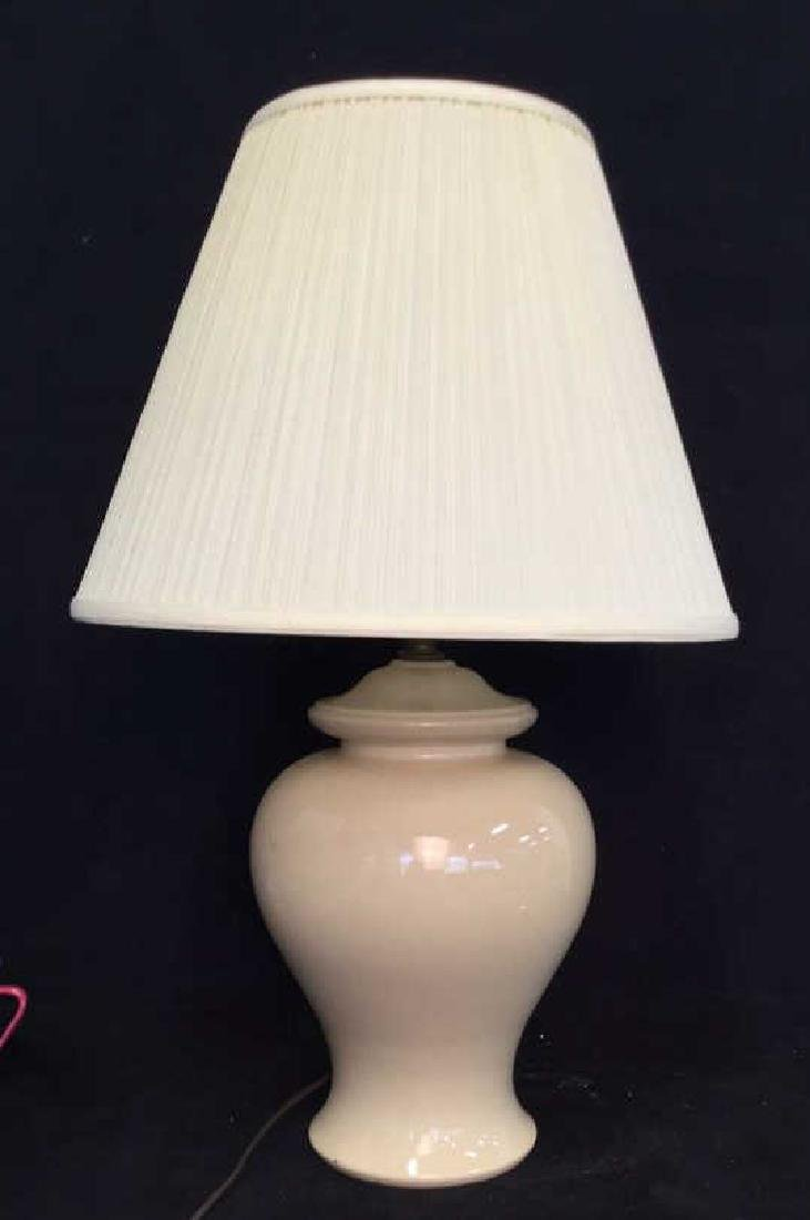 Vanilla Toned Porcelain Ceramic Lamp w Shade