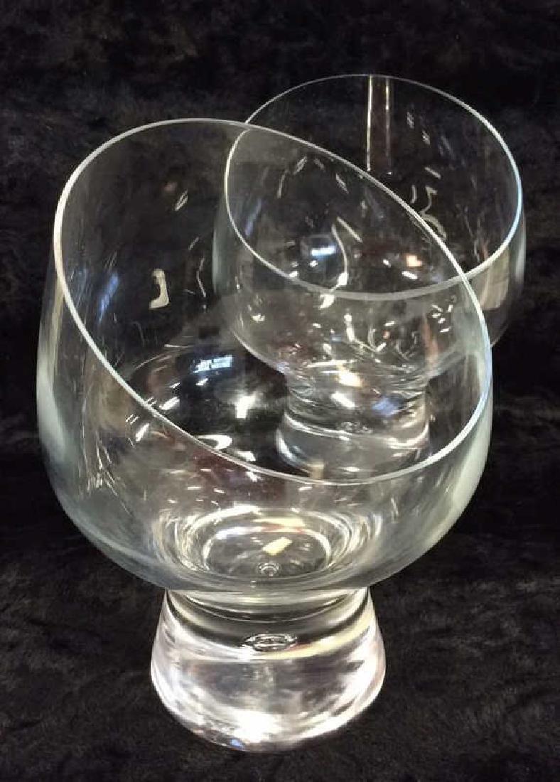 Pair Poss Vintage DANSK Glass Candleholders - 2
