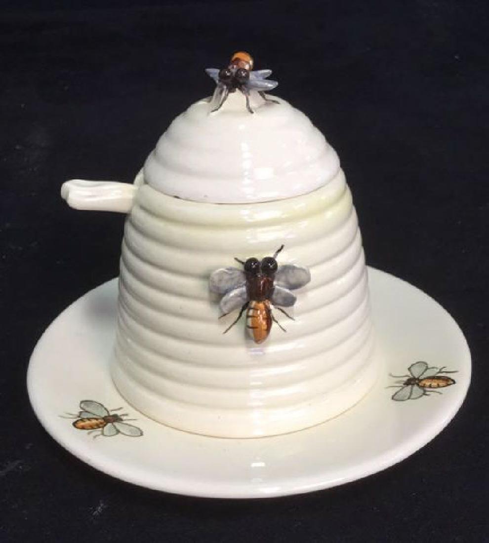 Italian Ceramic Honey Jar With Spoon