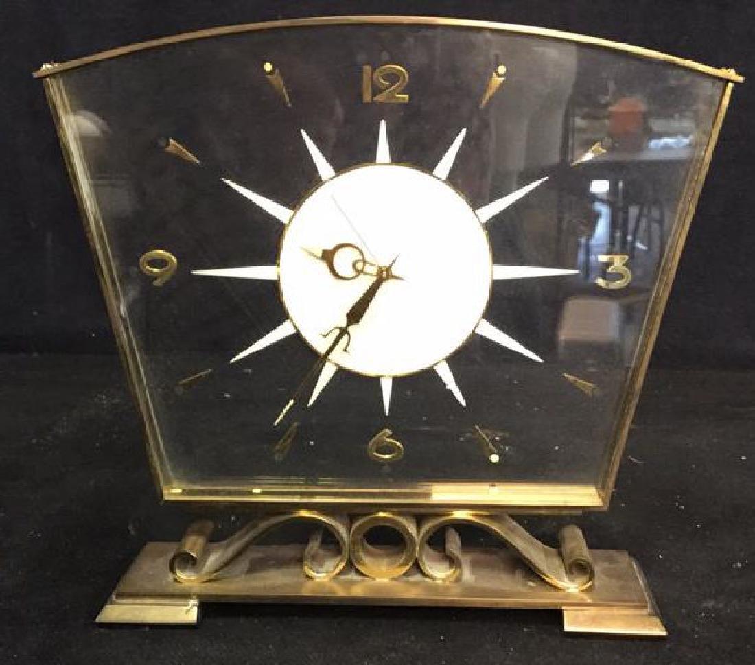 Mid Century Modern Style Sunburst Clock, swiss