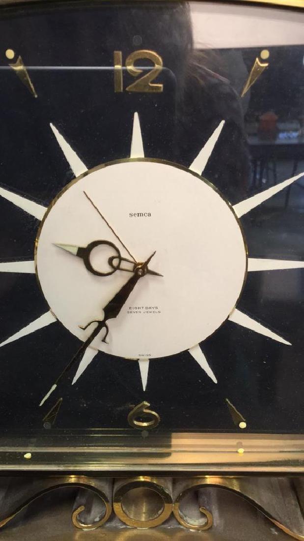 Mid Century Modern Style Sunburst Clock, swiss - 6