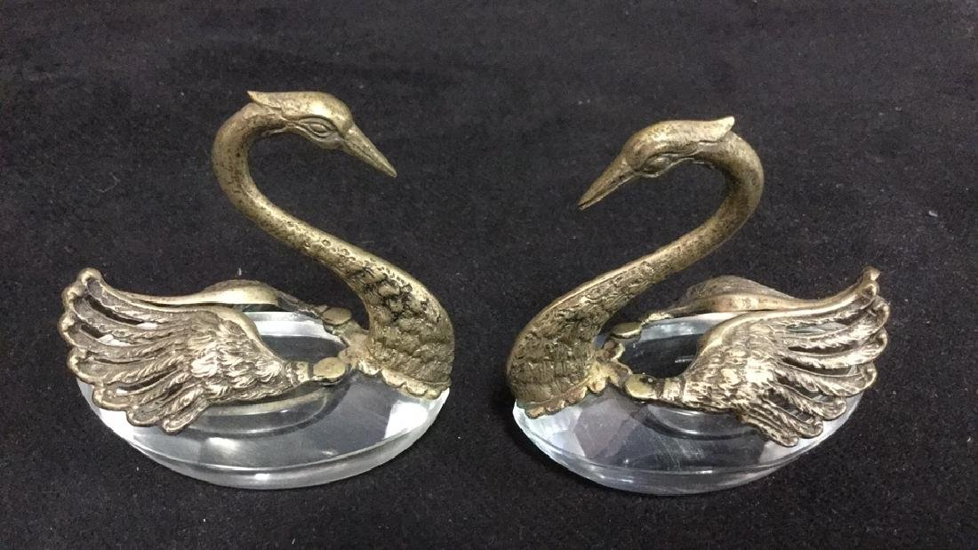 Lot 3 Swan And Duck Glass Metal Figurals - 5