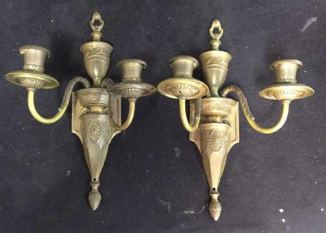 Pair Antique 2 Arm Candelabra Bronze Sconces - 4
