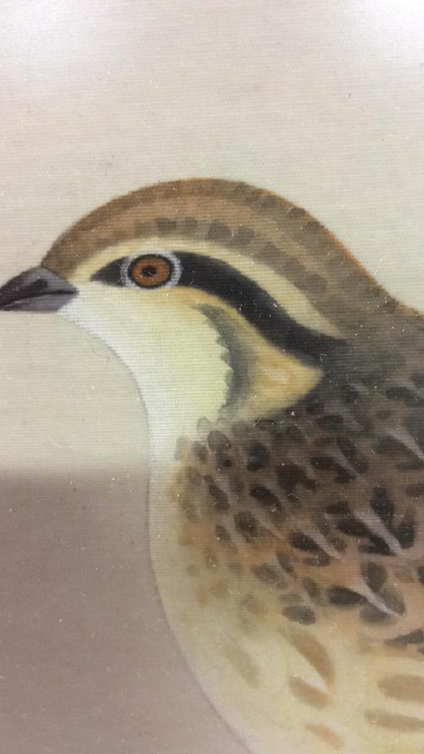 Framed Asian Bird Artwork on Fabric