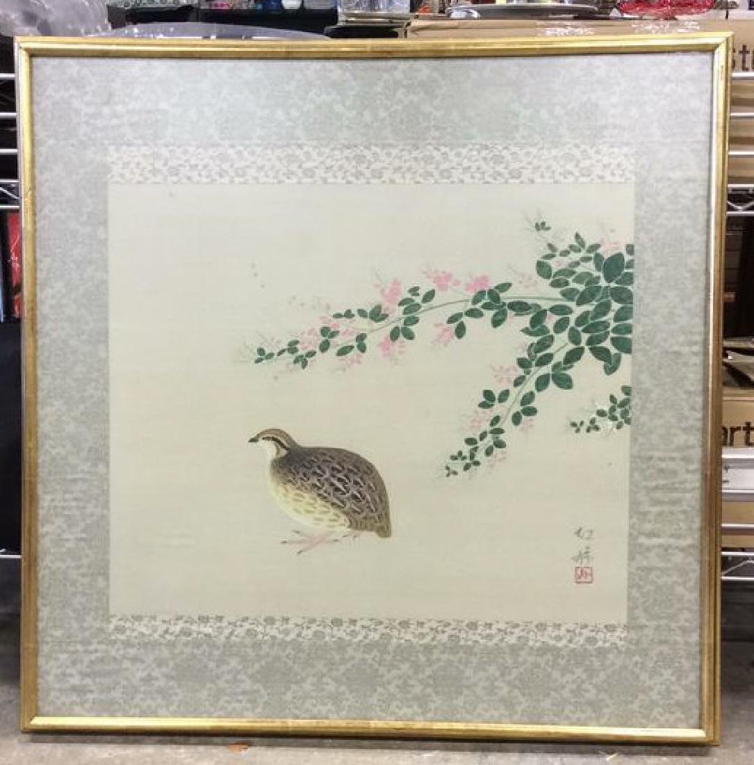 Framed Asian Bird Artwork on Fabric - 2