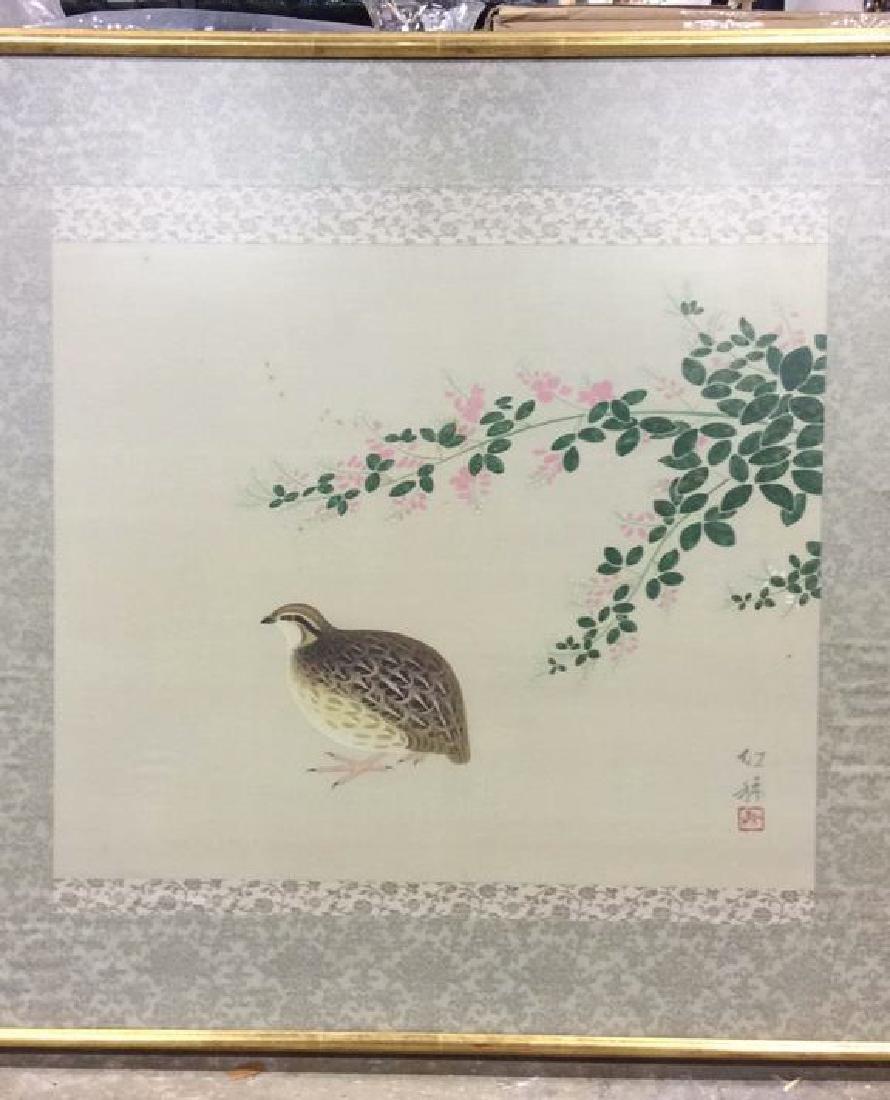 Framed Asian Bird Artwork on Fabric - 3