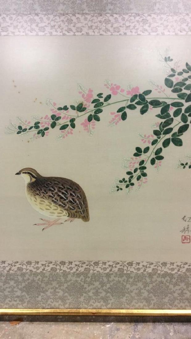 Framed Asian Bird Artwork on Fabric - 4