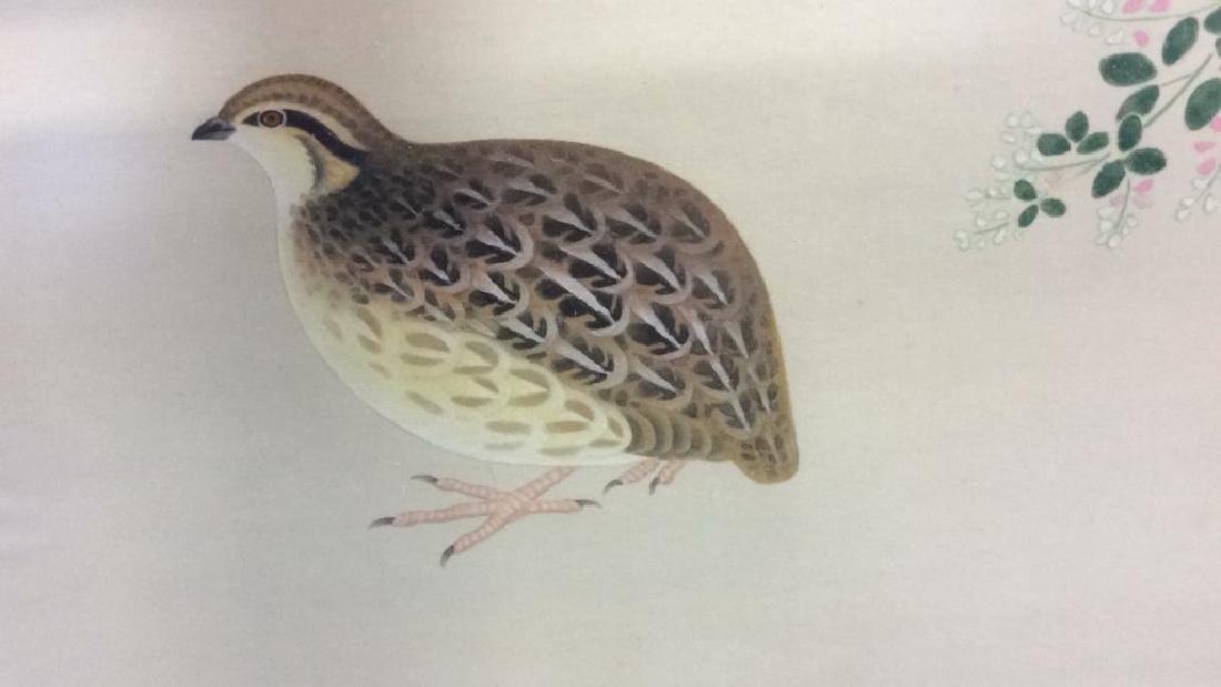 Framed Asian Bird Artwork on Fabric - 5