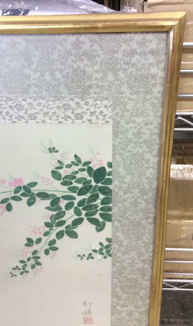 Framed Asian Bird Artwork on Fabric - 8