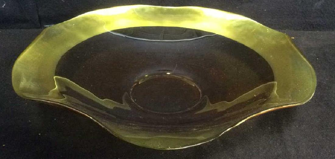 Gold Toned Rim Glass Centerpiece Bowl